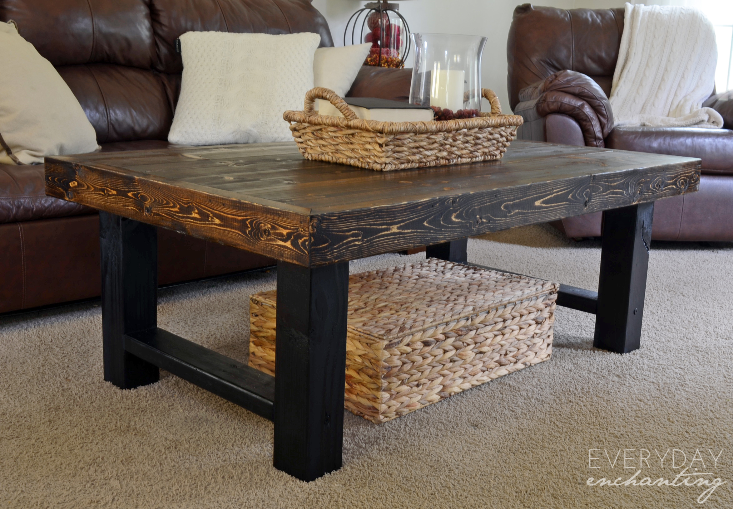 Remodelaholic diy simple wood slab coffee table for Coffee table made out of wooden crates