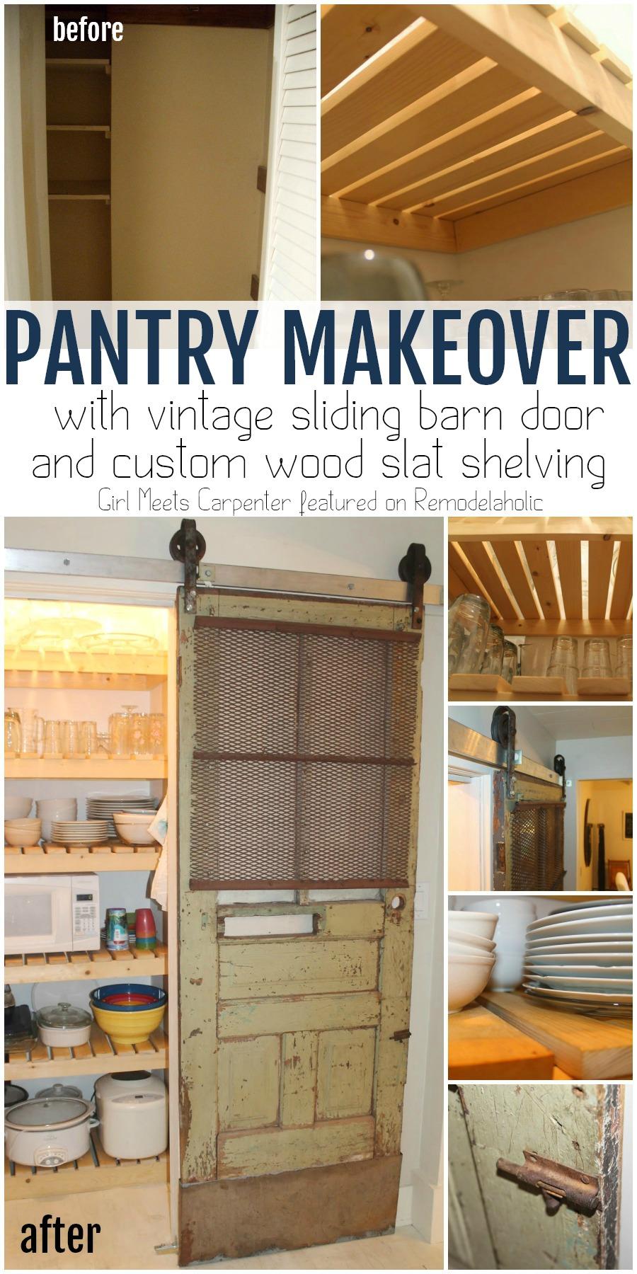 Remodelaholic Sliding Barn Door Pantry Makeover with Wood Slat