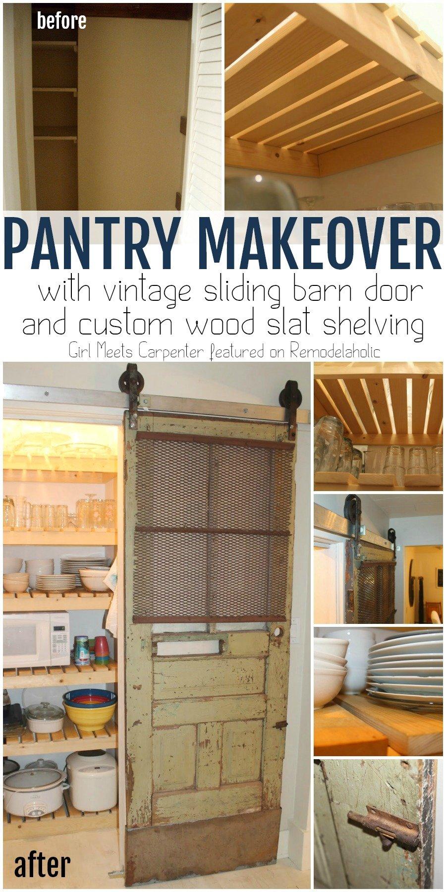 Sliding Barn Door Pantry Makeover With Wood Slat Shelves