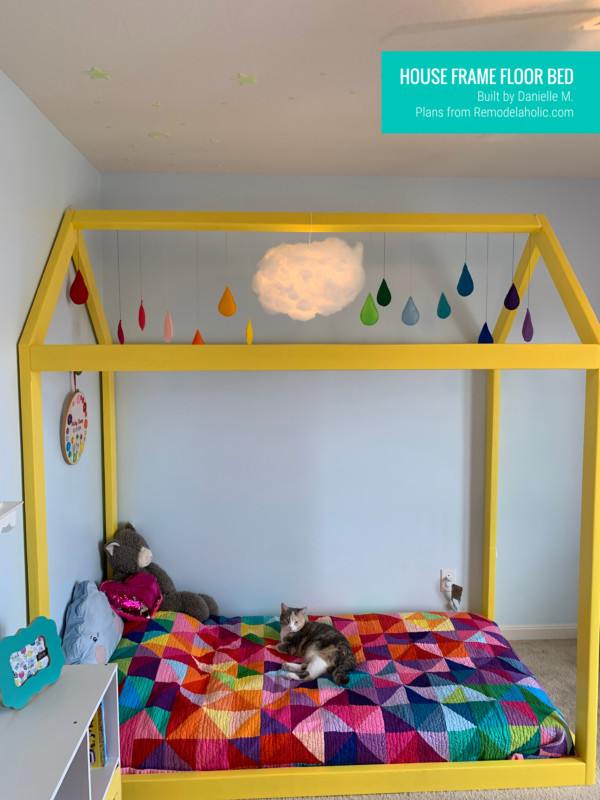 DIY Floor Bed House Bed Frame In Yellow Rainbow Room, By Reader Danielle Plans From Remodelaholic Wm