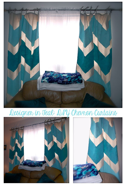 Designer in Teal - two tone chevron painted curtains - via Remodelaholic
