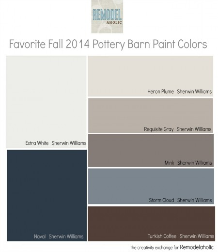 Favorites from the fall 2014 Pottery Barn paint color collection. Remodelaholic.