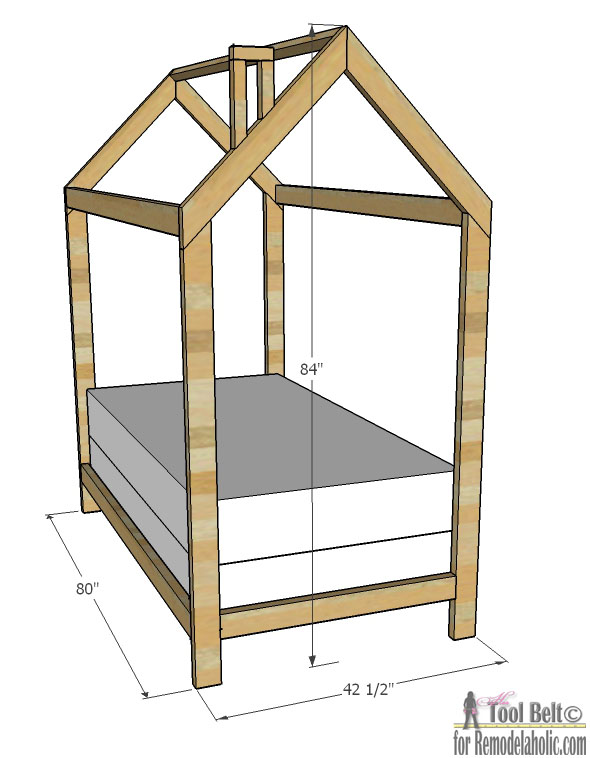 Remodelaholic | House Frame Twin Bed Building Plan