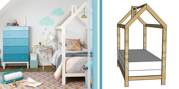 wood house bed frame inspiration and tutorial