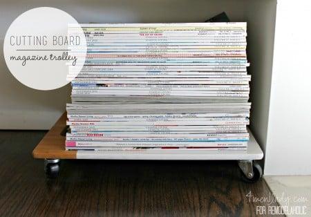 diy magazine trolley from cutting board