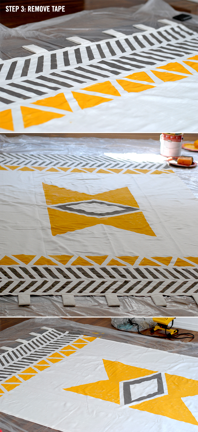 Diy painted shower curtain - Love Creative Geometric Native Inspired Curtains Via Remodelaholic