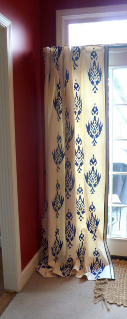 Our Fifth House - acrylic painted stenciled curtains - via Remodelaholic