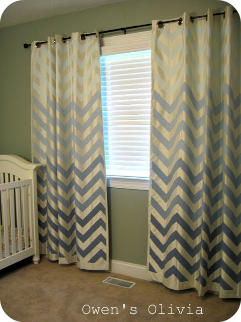Owens Olivia   Painted Ombre Chevron Curtains   Featured On Remodelaholic