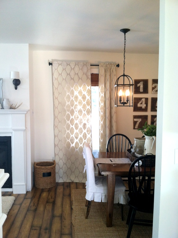 Proverbs 31 Girl - stenciled painted drop cloth curtains - via Remodelaholic