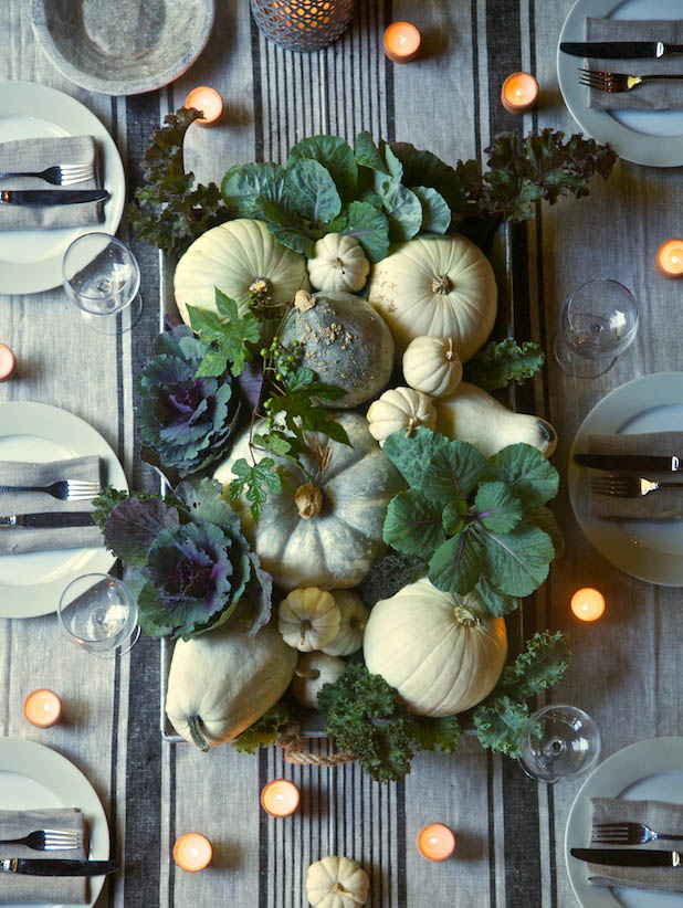 Pumpkins and greens centerpiece