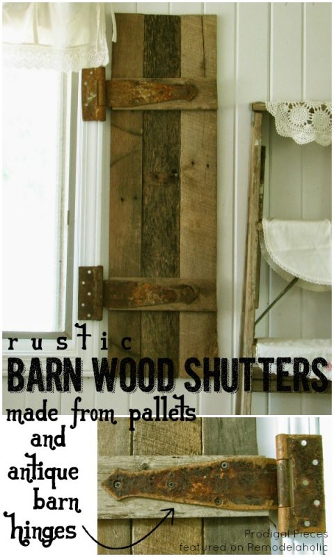 DIY Barn Wood Shutters (with antique barn hinges) | Prodigal Pieces on Remodelaholic.com #AllThingsWindows #reclaimedwood #pallets #rustic