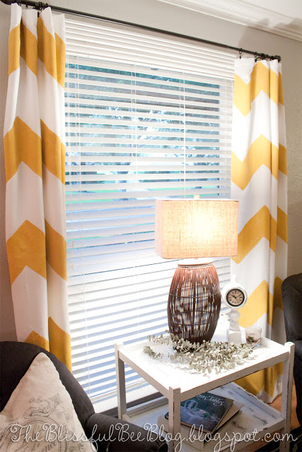 The Blissful Bee - diy painted chevron curtains - featured on Remodelaholic