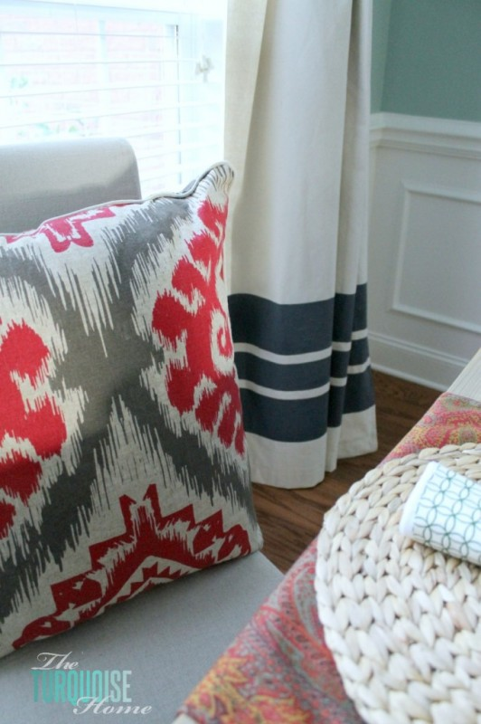 The Turquoise Home - diy painted striped drop cloth curtains - via Remodelaholic