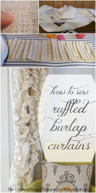 Tutorial: Ruffled Burlap Curtains | The Caldwell Project on Remodelaholic.com #AllThingsWindows #texture #budget