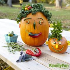 Halloween Veggie Pumpkin Heads
