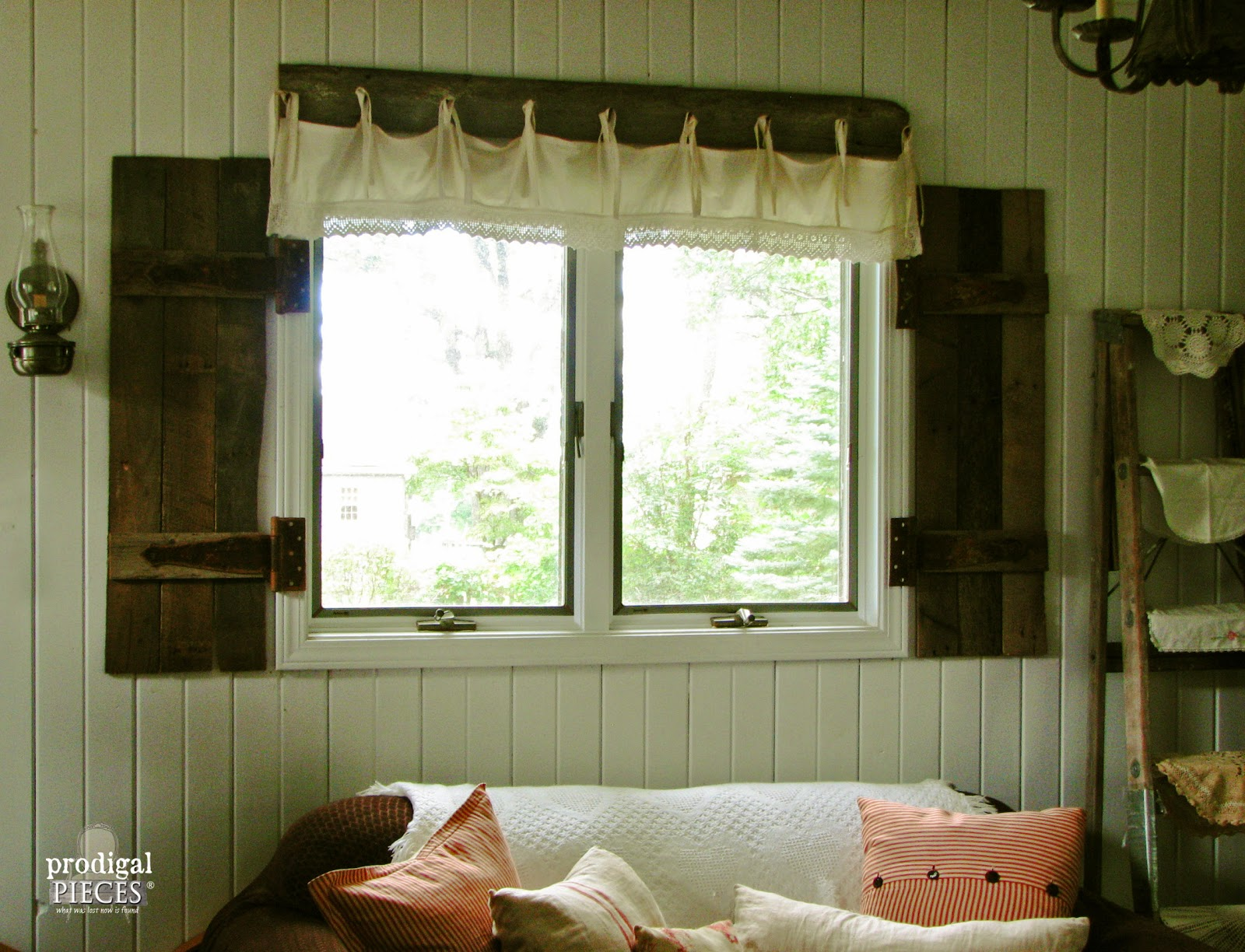Elegant Barn Wood Shutters And Lace Valance, Prodigal Pieces On Remodelaholic