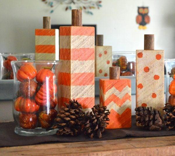 diy wood block pumpkins, Kruse's Workshop