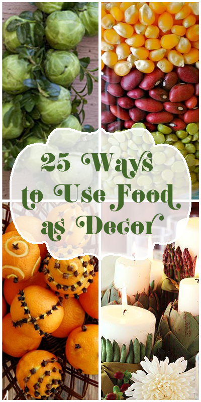 25 Ways to Use Food As Decor @Remodelaholic #decor #holidays -- so many creative and EASY decorating ideas!