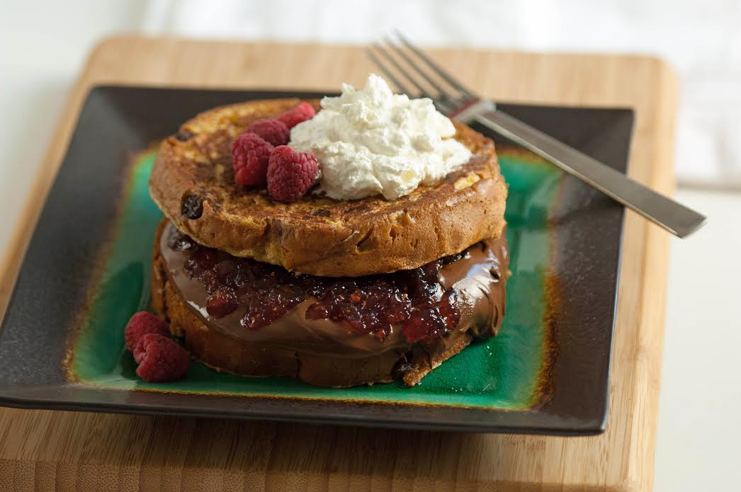 Nutella Stuffed Panettone French Toast