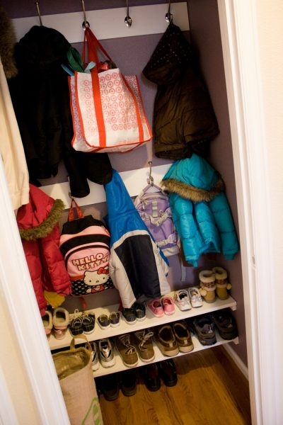 hall closet to mini mudroom