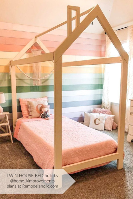 Home Kimprovements Twin House Bed Frame With Rainbow Shiplap Wall, Twin Bed Plans By Remodelaholic WM