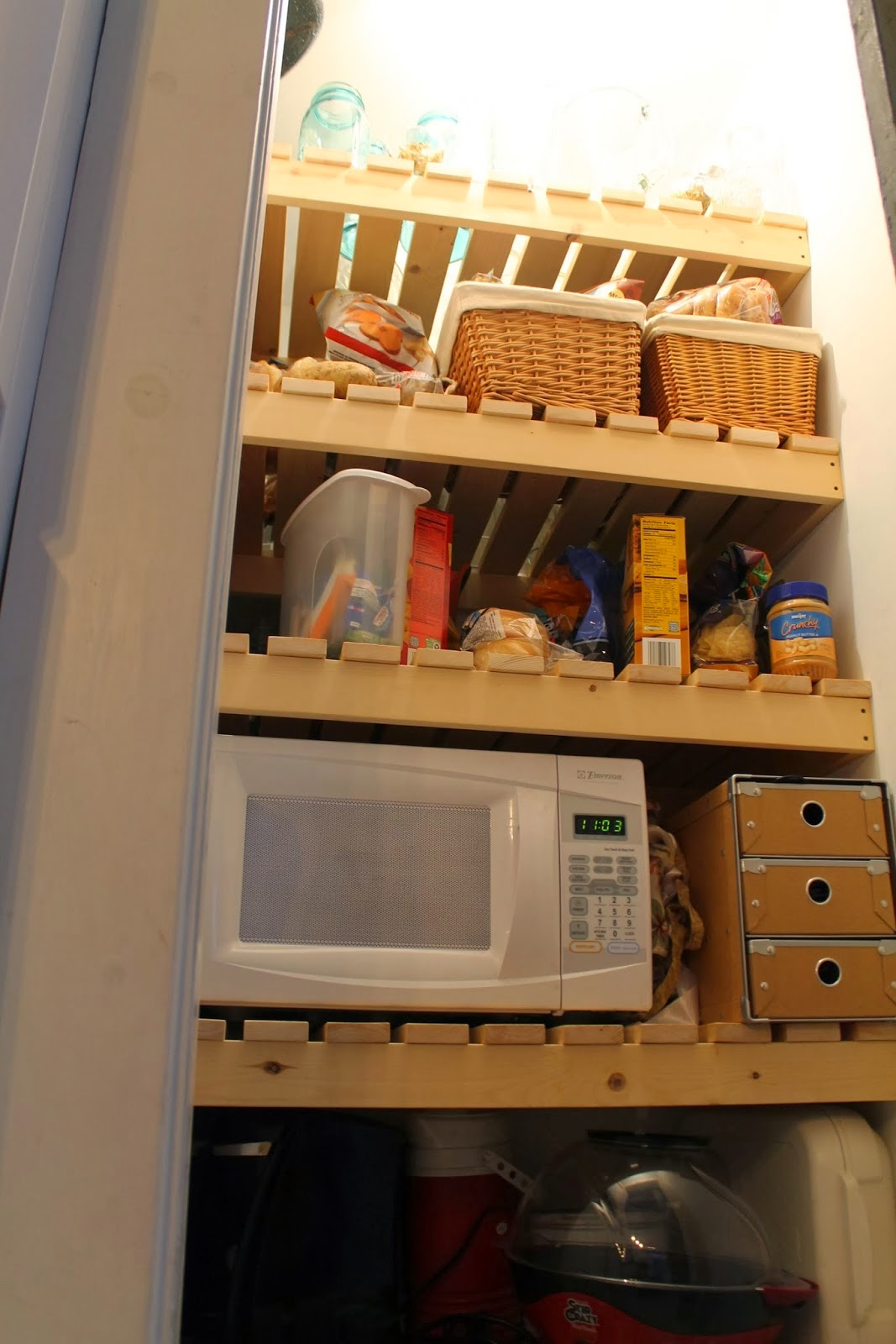 Marvelous photograph of new wood slat pantry shelving Girl Meets Carpenter on @Remodelaholic with #B03E1B color and 1067x1600 pixels