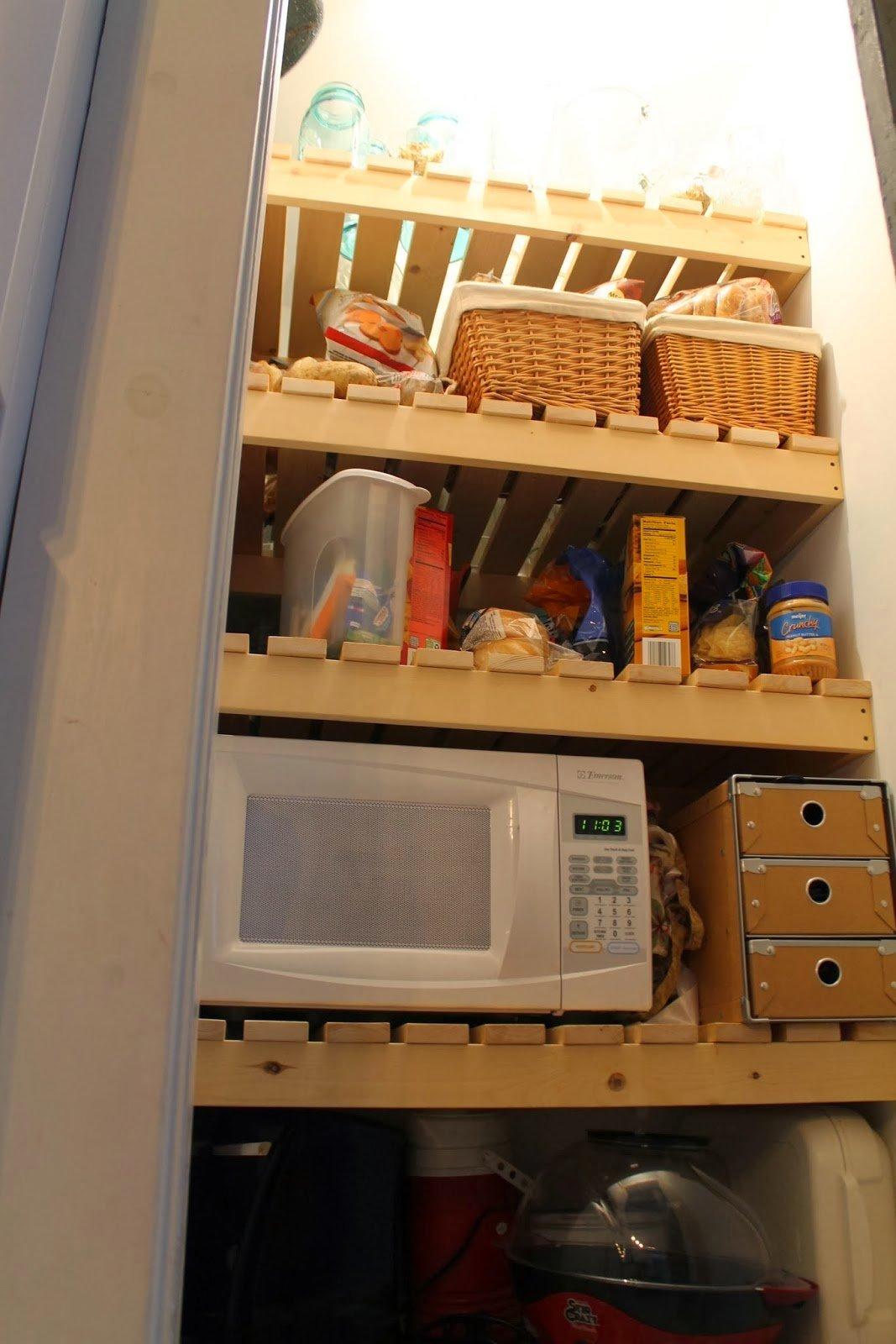 Remodelaholic Sliding Barn Door Pantry Makeover With Wood Slat Shelves