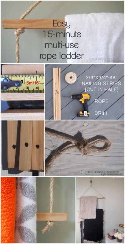 Using just rope and some 1x1 wood you can make a great towel or blanket rack in 15 minutes! Via The Learner Observer for Remodelaholic.com