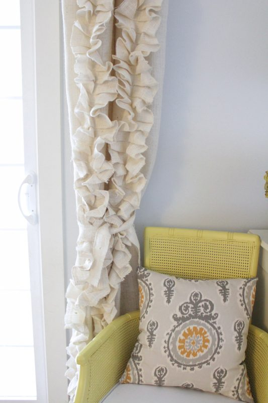 ruffled burlap curtains tutorial, The Caldwell Project on Remodelaholic