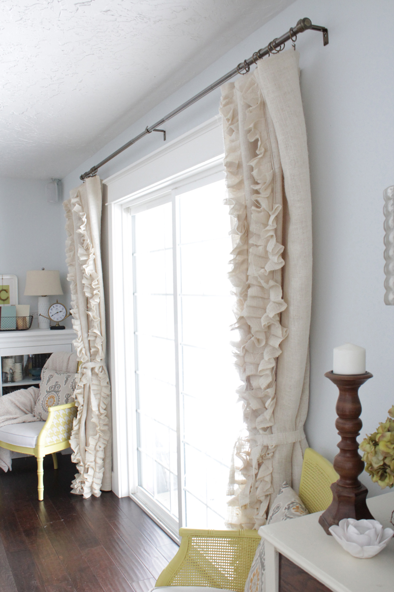 Lovely sew ruffled burlap curtains diy The Caldwell Project on Remodelaholic