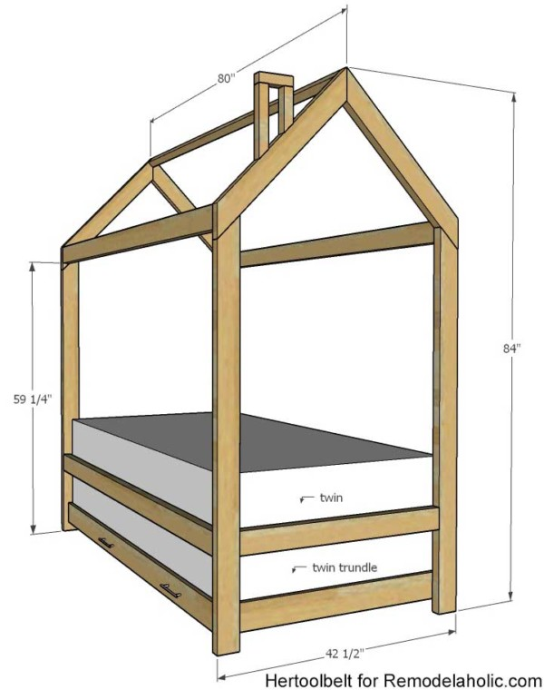 Twin House Bed Frame With Trundle Bed Add On, Remodelaholic