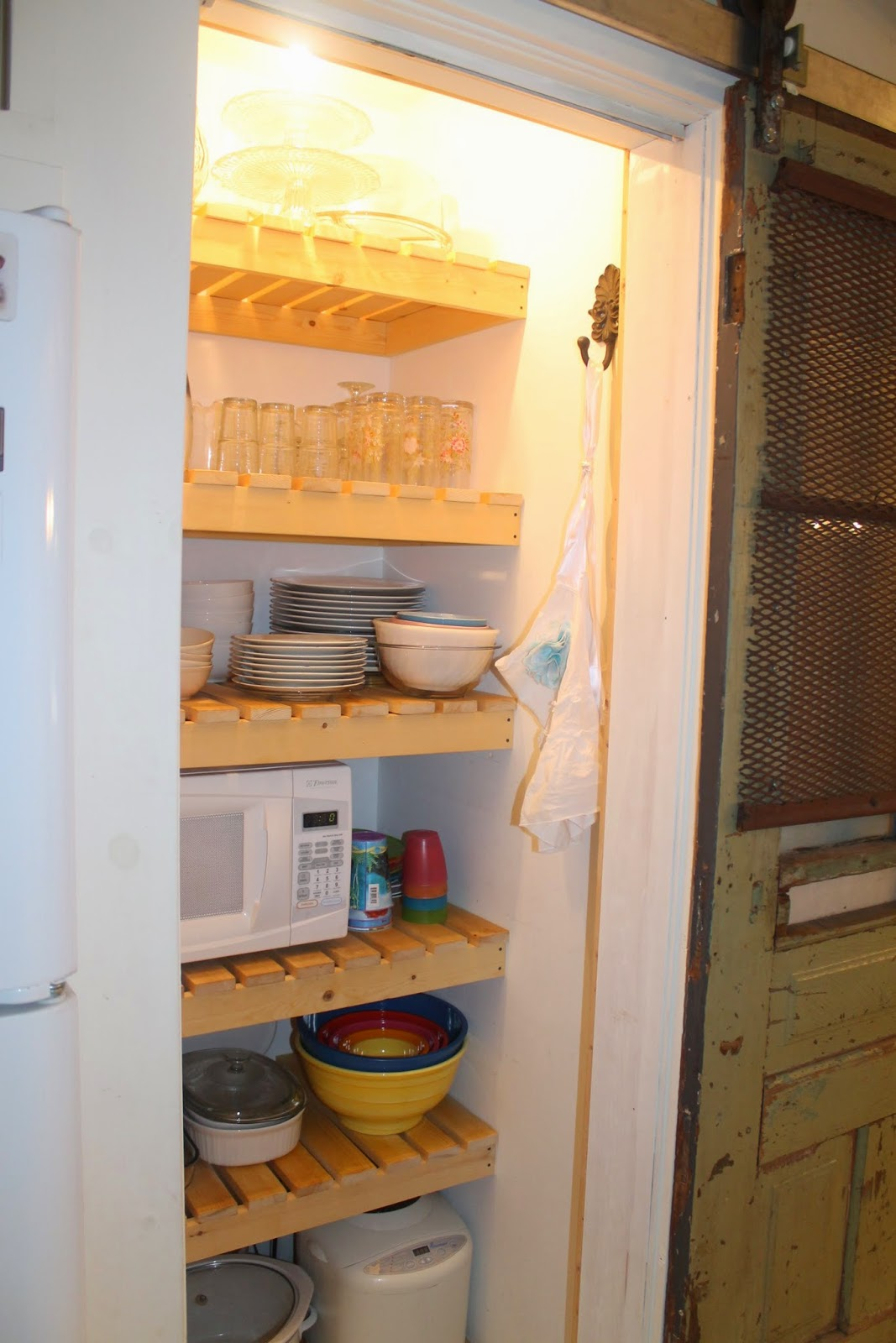 Marvelous photograph of use pantry wood slat shelves to store dishes instead of food Girl  with #A56626 color and 1067x1600 pixels