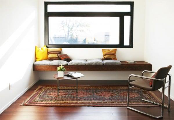 via The Brick House - floating wood window seat via @Remodelaholic