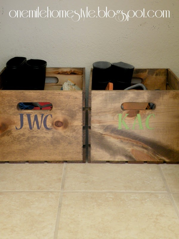 wood crate for shoes and boots, One Mile Home Style