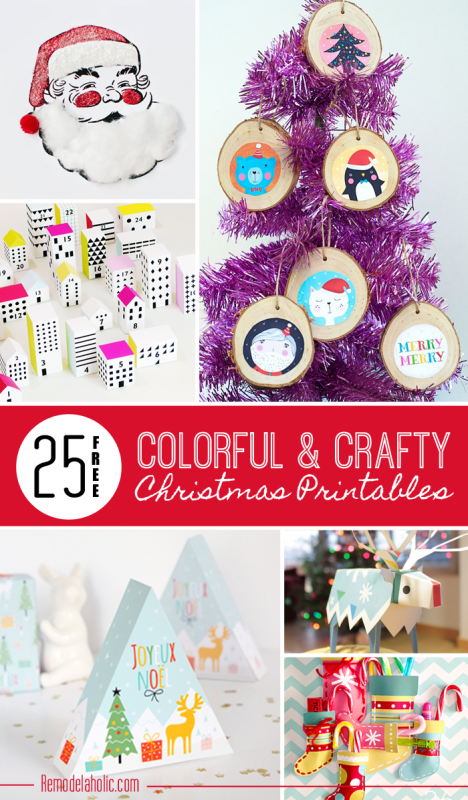 25 Free Colorful and Crafty Christmas Printables | Remodelaholic.com #free #art