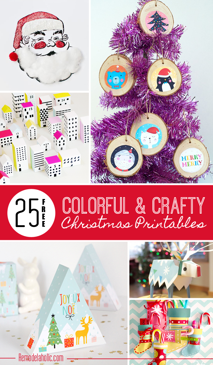 remodelaholic 25 free colorful u0026 crafty christmas printables day 1