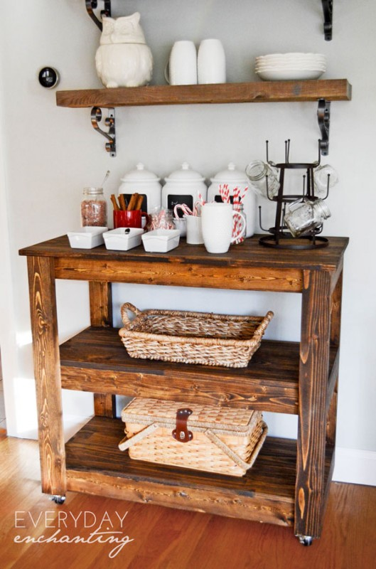 Remodelaholic build a wood bar cart diy for Diy wood bar