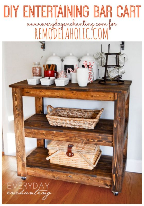 Remodelaholic build a wood bar cart diy for How to build a simple bar