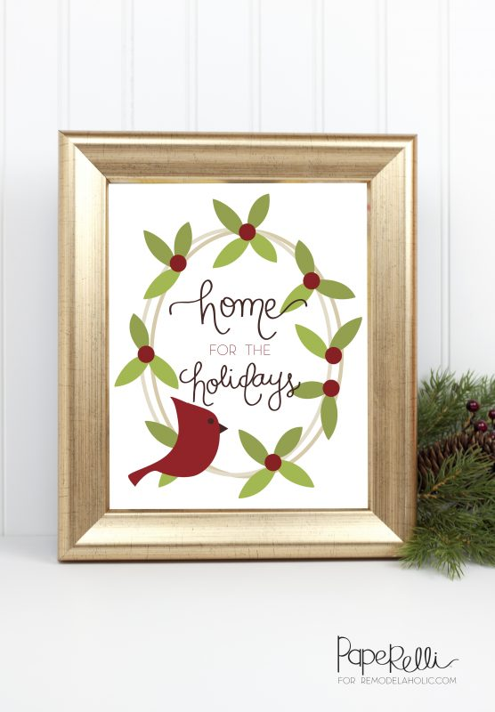 Christmas Cardinal Printable @Remodelaholic by Paperelli