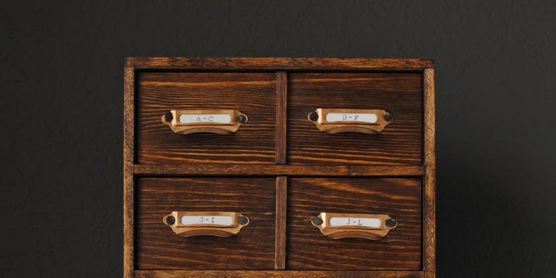 DIY Miniature Card Catalog Storage Box