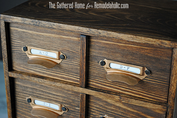 DIY Miniature Card Catalog Storage Box | The Gathered Home for Remodelaholic.com #cardcatalog #tutorial #vintage