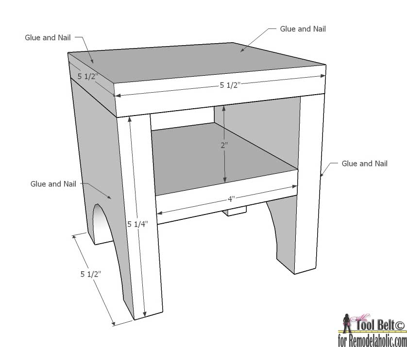 How to Build a Doll Bed : Doll Night stand or stool dimension from remodelaholic.com size 838 x 715 jpeg 67kB