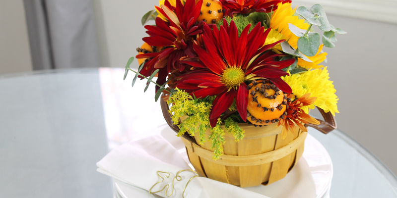 Orange Pomander Floral Arrangement
