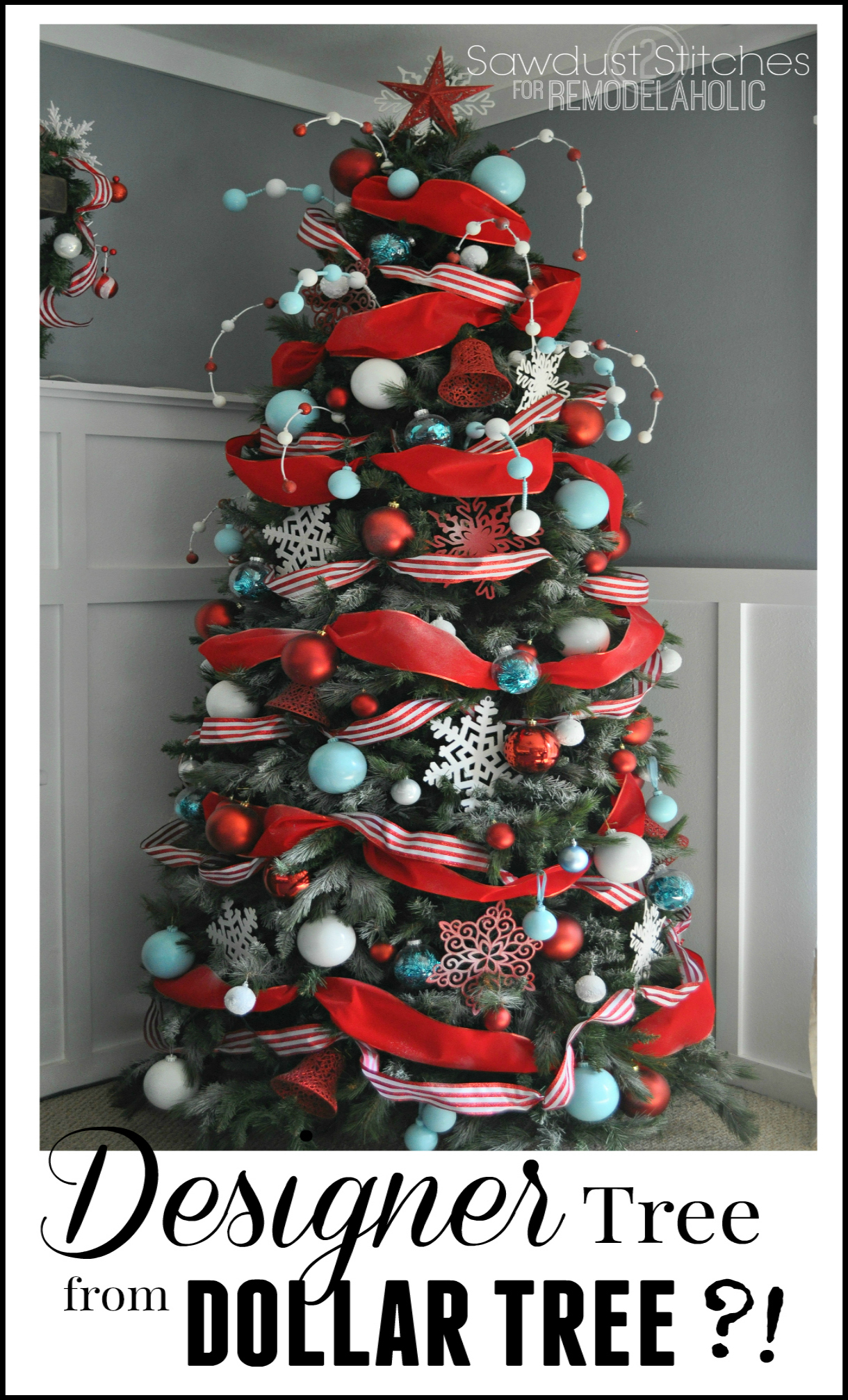 designer look christmas tree using dollar store supplies diychristmastreee designertree - 99 Cent Store Christmas Decorations