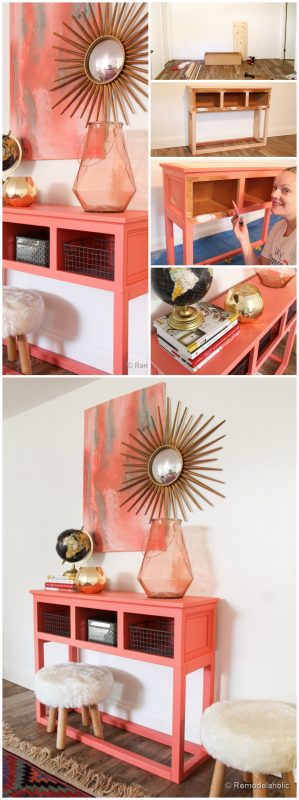 Remodelaholic Sherwin Williams Coral Reef Entry Table