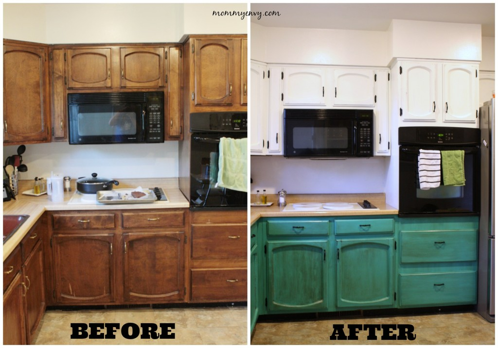 Beautiful chalk painted kitchen cabinets Mommy Envy via Remodelaholic