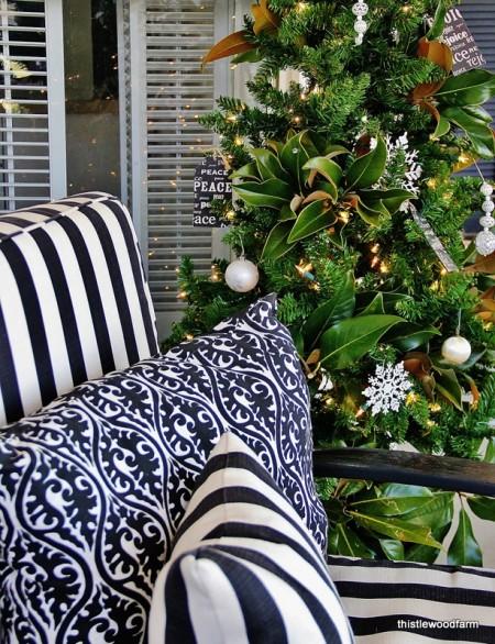 christmas tree vintage and greenery
