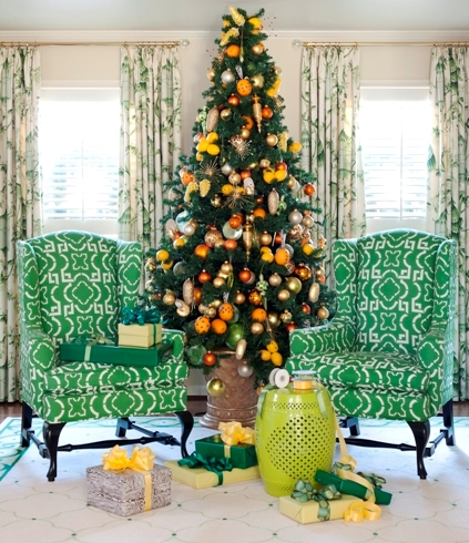 citrus yellow and orange christmas tree tobi fairley via remodelaholic - Orange Christmas Tree Decorations