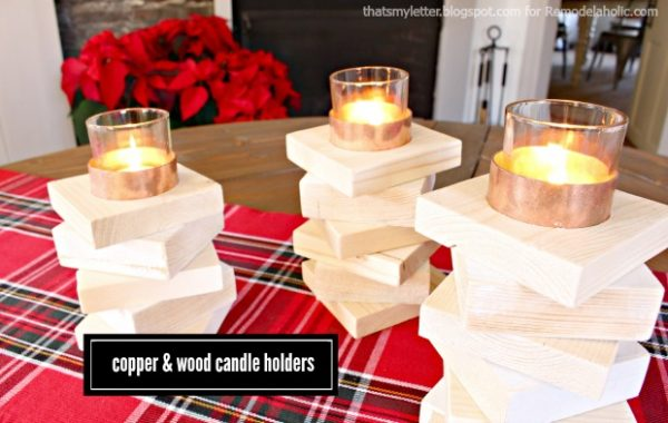 copper & wood candle holders