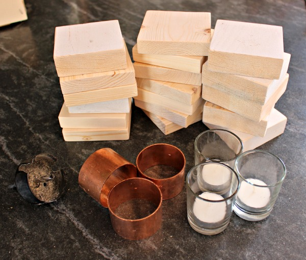 Remodelaholic copper wood candle holder for Diy wooden pillar candle holders